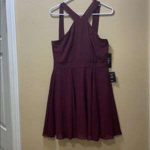 lulu's wine red shirt high neck dress !